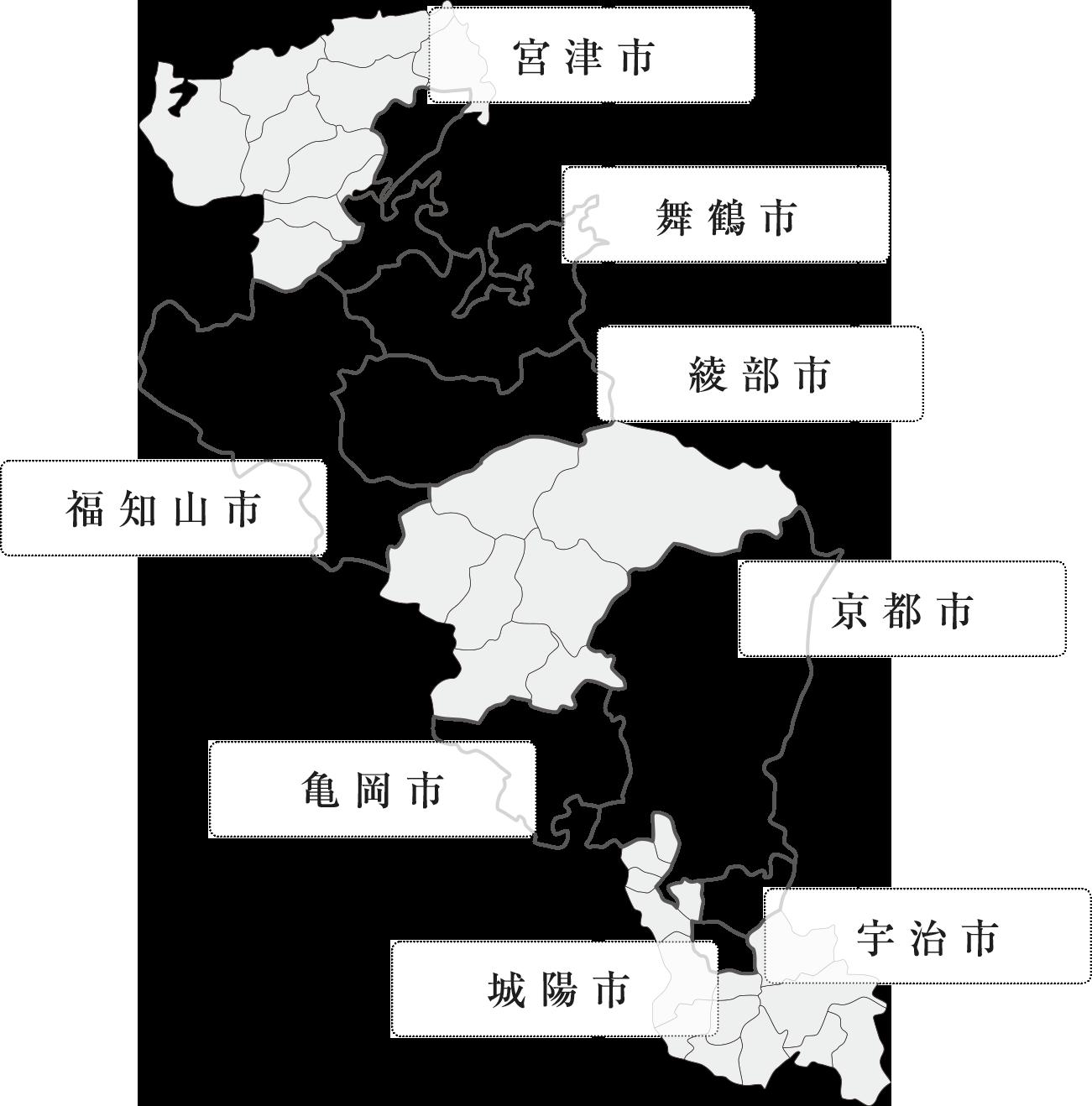 画像:京都府下の地図